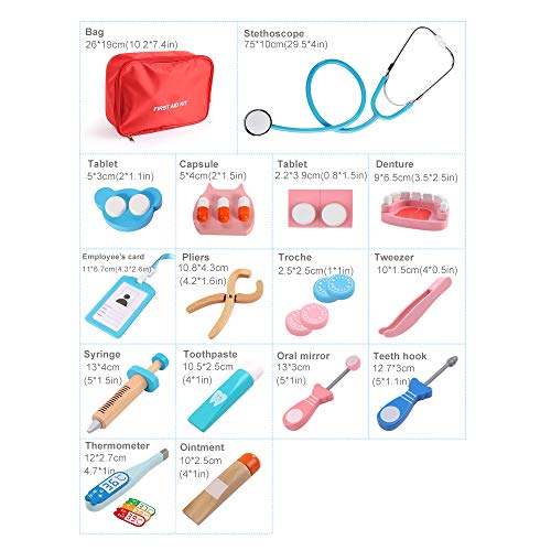 BeebeeRun Doctors Kit for Children Kids,19 pieces Wooden Doctor Toys Set,Doctor Play Set for Kids,Toy Medical Carrycase,Dentist Medical Kit�,Role Pretend Play Toys for 4 Year Olds Boys Girls+