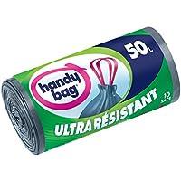 Handy Bag - Rouleaux de 10 Sacs Poubelle 50 L, Poignées Coulissantes, Ultra Résistant, Anti-Fuites, 68 x 73 cm, Gris Foncé, Opaque - lot de 2