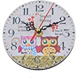 Hoomall Modern Design Vintage Rustic Shabby Chic Home Office Cafe Decoration Art Large Wall Clock Owl Sweet Home