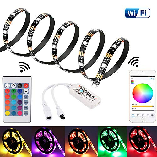 Striscia led wifi 2m per alexa/google home, smartphone app controllata 5050 impermeabile strip led luce rgb con telecomando per la decorazione domestica