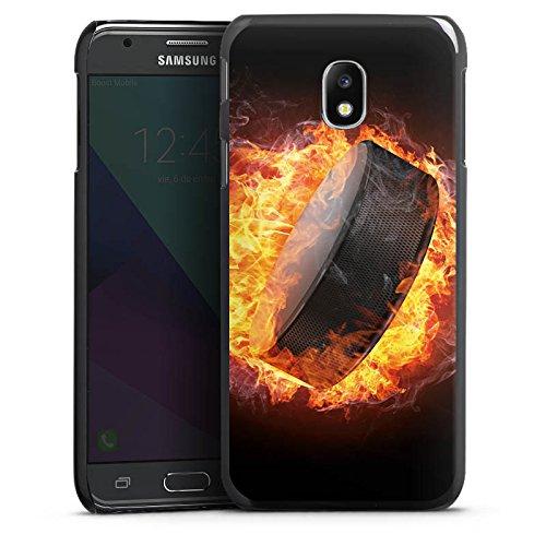 DeinDesign Hülle kompatibel mit Samsung Galaxy J3 (2017) Handyhülle Case Eishockey Flammen Slapshot