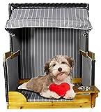 Trendyshop365 Luxus Outdoor Hundestrandkorb für kleine und mittlere Hunde - Trinknapf - Echtholz - 6