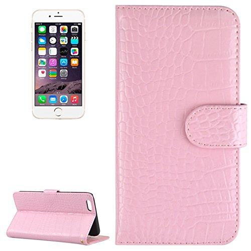 Phone case & Hülle Für IPhone 6 Plus / 6S Plus, Krokodil Textur Horizontale Flip Echt Leder Tasche mit Card Slots & Halter ( Color : Magenta ) Pink