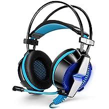 Gaming Headset con micrófono, YSSHUI KOTION EACH GS700 3.5mm del Auricular del Auricular Estéreo bajo la Venda de luz LED Para el Ordenador Portátil PC PS4 Teléfonos Móviles - Negro + Azul