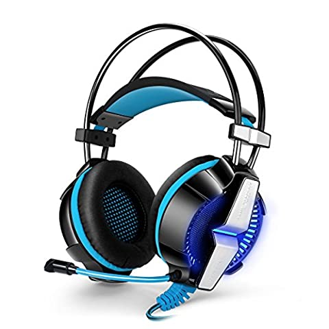 Gaming Headset with Mic, YSSHUI KOTION EACH GS700 3.5mm Headphone Earphone Headband Stereo Bass LED Light for PS4 PC Computer Laptop Mobile Phones - Black + Blue - Inoltre Pickup