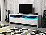 Dione – TV-Lowboard / TV-Bank / Fernsehschrank (100 cm, Weiß Matt / Weiß Hochglanz, LED in Blau)