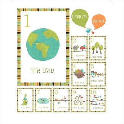 ign Unter dem Motto Natur Hebräisch Zahlen 1-10 und Wand Kartenzählen (Baby-bild-flash-karten)