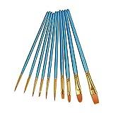 Set de 10 Piezas de Pinceles para Pintura de Acuarela y Óleo de Acrílico,Cepillo de Acuarela Agua Plumas de Arte Cepillo de Pintura Dibujo, Diseño y Manualidades (Conjunto azul)