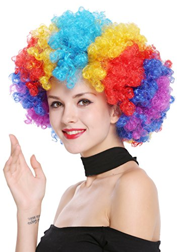 WIG ME UP ® - PW0011 Parrucca Parrucca Afro Anni 70 Arcobaleno Colorata Enorme Funky Disco Clown