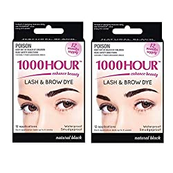 3d670bf597d 40%off 1000 Hour Eyelash Brow Dye/Tint Kit Permanent Mascara (Black) (2 Pack