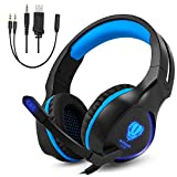 megadream PS4 Over-Ear Stereo Gaming Kopfhörer, 3.5 mm Wired Headset Noise Cancelling Mit Mikrofon & LED-Licht für Xbox One, Xbox One S, Xbox One X, PS4, PS4 Pro, PS4 Slim Laptop Tablet Handy (schwarz + blau)