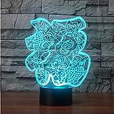 7 Farbwechsel USB Tischlampe LED 3D Chinesische Papier-Cut Fu Wörter NightLight Segen Schlaf Beleuchtung Neujahrsgeschenk Schlafzimmer Dekor