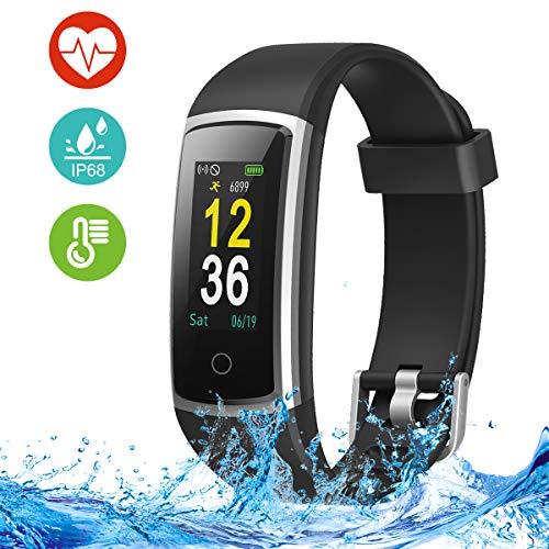 Fitness Armband mit Pulsmesser, Blutdruckmessung, Fitness Tracker, Smart Watch, Fitness Uhr IP68 Wasserdichte, Schrittzähler Uhr, Aktivitätstracker mit Anruf- und SMS-Benachrichtigung für Damen Herren -