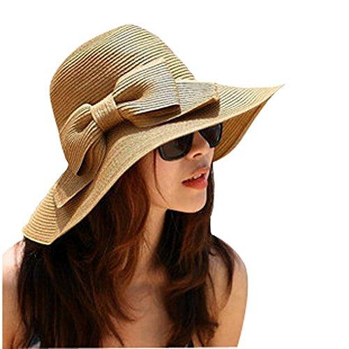 GODHL Bowknot spiaggia sole visiera pieghevole ampia tesa paglia cappello per donna caffè leggero