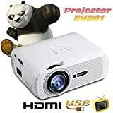 Excelvan EHD01 Mini 3D Vidéoprojecteur Portable Projecteur Multimédia LCD LED Home Cinéma HDMI/USB/VGA/AV/ATV/SD - Blanc