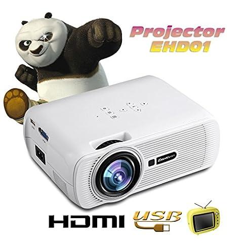 Excelvan EHD01 Mini 3D Vidéoprojecteur Portable Projecteur Multimédia LCD LED Home Cinéma HDMI/USB/VGA/AV/ATV/SD -