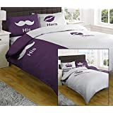Kings and Queens/His and Hers Reversible Double Duvet Cover Aubergine by Textiles Direct