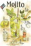 Schatzmix Cocktail Rezept Recipe Mojito Rum Minze helle Hintergrund Metal Sign deko Sign Garten Blech