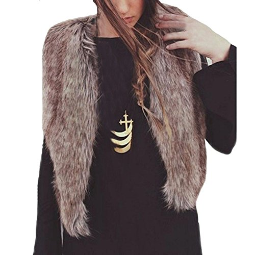 Bekleidung Damen Hirolan Mode Fellweste Frau Faux Pelz Weste Ärmellos Mantel Oberbekleidung Jacke Weste übergangsjacke (XXL, Braun)