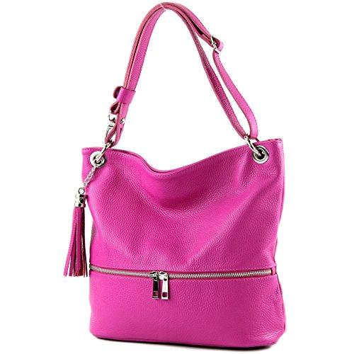 modamoda de - T143 - ital Schulter-/Umhängetasche aus Leder, Präzise Farbe:Pink