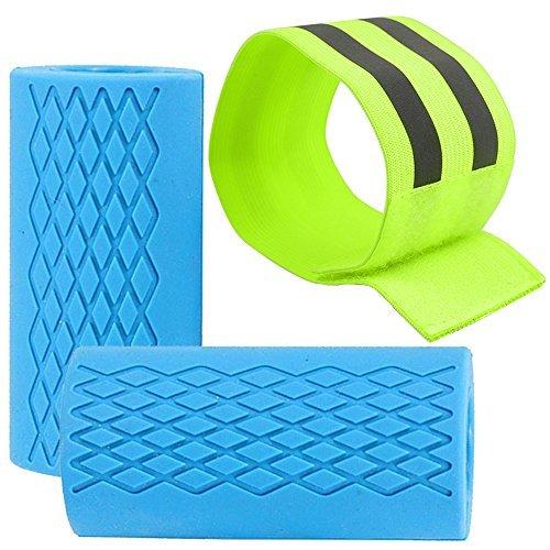 finegood 2Pcs Fat Bar Griff Reflektierende Armband, Gummi Dick Barbell Hantel Grips für Gewichtheben Training und Muskelaufbau, Stärkung Unterarm Bizeps Trizeps Brust–blau