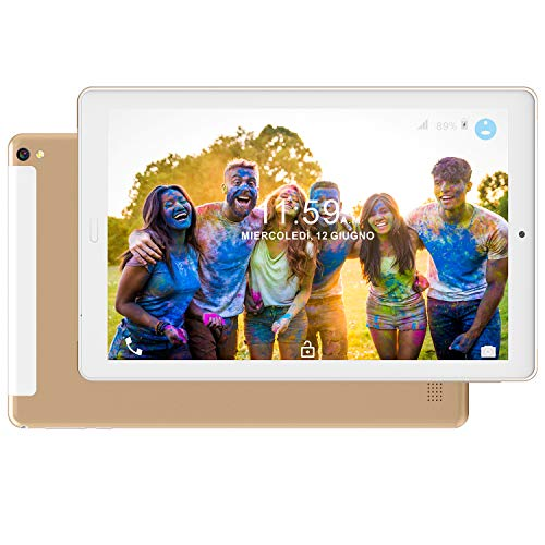Tablet PC 10.1 Pollici 4G LTE Dual SIM /WiFi tablet Android 8.0 con 3GB di RAM e 32GB ROM Batteria 8000mAh- Oro