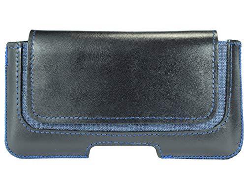 OrLine Handytasche geeignet für Alcatel Idol 3C Ledertasche Gürteltasche ECHT Leder Hülle Case mit Gürtelclip, Schlaufe und Magnetverschluss Schwarz/Blau