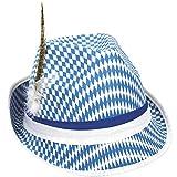Home Collection Giochi Articoli per Feste Abbigliamento Accessori Uomo Cappello Tirolese Oktoberfest Blu e Bianco con Piuma