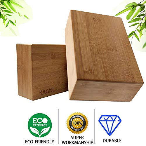 Kagni Bambus Yoga Block 2 Stück, Bio Natur Holz Yogablock 2er Set, Ungiftig Schadstofffrei Recycled Yoga Klötze für Yoga Pilates Gym und Training