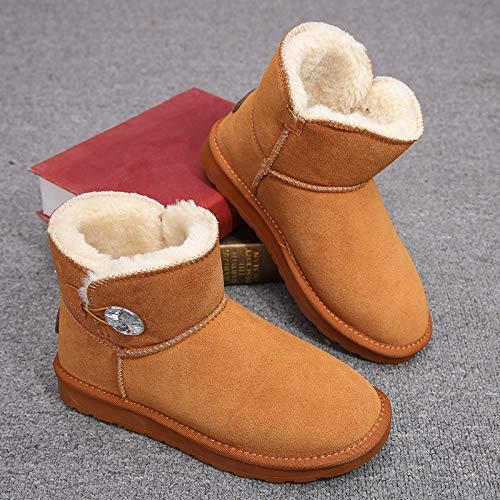 in Baumwolle Schuhe Damen Winter Wilde Flache Baumwolle Stiefel Student Schuhe Kurze Stiefel Plus Baumwolle Warme Schneeschuhe, Maroon, 36 ()