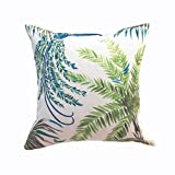 Clara Indoor Outdoor Garden Scatter Cushion Covers Tropical Palm Leaf Water Resistent Jungle Rainforest Decorative Linen (Blue Flower)