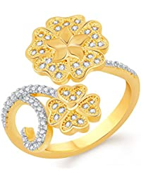 VK Jewels Beautiful Flower Gold And Rhodium Plated Alloy CZ American Diamond Adjustable Ring For Women [VKFR2712G]