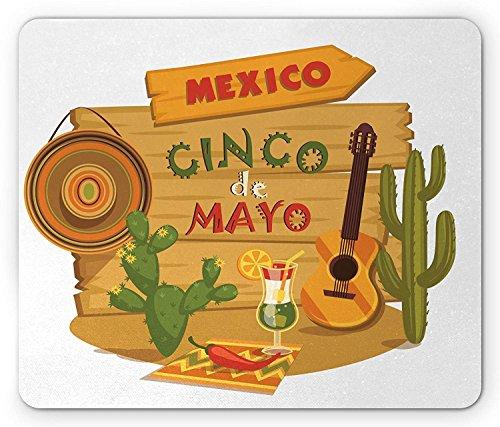 Cinco De Mayo Maus Pad, mexikanische Fiesta in Desert unter Schatten Thema mit Cocktail und Gitarre Elements, Standard Größe Rechteck rutschfeste Gummi Mauspad, multicolor