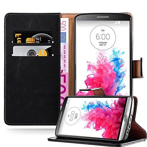 Cadorabo Hülle für LG G3 - Hülle in Graphit SCHWARZ - Handyhülle im Luxury Design mit Kartenfach & Standfunktion - Case Cover Schutzhülle Etui Tasche Book