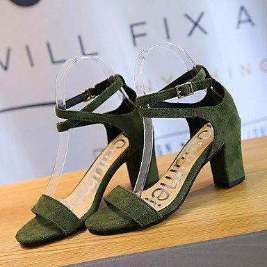 LvYuan Da donna Sandali Comoda Vellutato Estate Casual Footing Comoda Fibbia Quadrato Nero Verde Rosa Chiaro 2,5 - 4,5 cm Green
