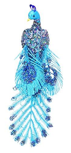 ® 38cm Glitzer Verlegung Pfau Clip auf Weihnachtsbaum Dekoration mit Perlen und Pailletten - verschiedene Farben (blau) ()