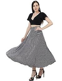 DIMPY GARMENTS BuyNewTrend Black N White Hosiery Lycra Striped Asymmetrical Skirt for Women