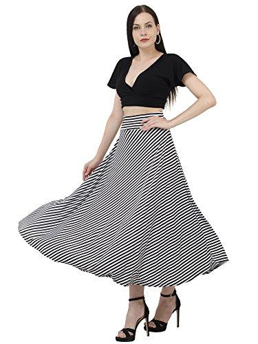 DIMPY GARMENTS Women's Hosiery Lycra Striped Asymmetrical Skirt (Black and White, 30)