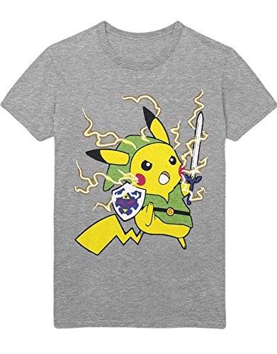 T-Shirt Poke Go Pika Link Mashup Zelda Hyrule Mastersword Triforce C123133 Grau ()