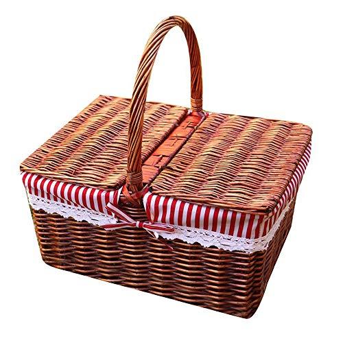 Byx- Picknickkorb - Rattan Wicker Picknickkorb Strandurlaub Camping Abdeckung Lebensmittel Ablagekorb Tragbarer Einkaufskorb Geschenkkorb (40x30x20cm) - Picknickkorb -