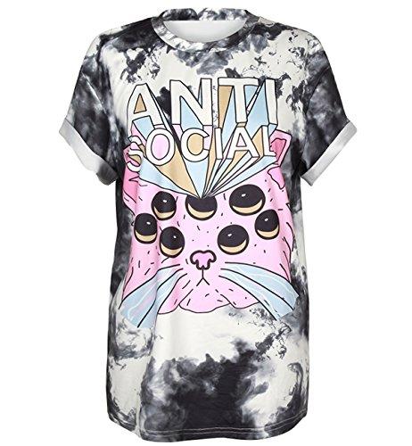 COUSIN CANAL Damen Herren Tees Gothic Punk Casual Kurzarm Blues T-Shirt 004 S/M