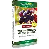 Resvératrol MAX 5000mg avec Extrait de Peau de Raisin |Favorise la santé du coeur | 60 Gélules | Simply Supplements