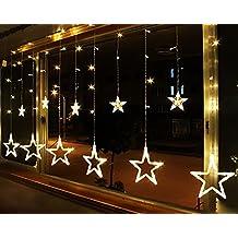 Estrella Luz Cadena Navidad cortina Ventana Cortina de luces Hada haftes Luz Lámpara Decorativa con 168LED para Boda Fiesta Navidad Decoración Blanco cálido EU Conector