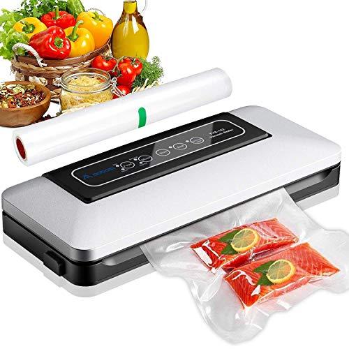 Aobosi Vakuumierer-Vakuumiergerät 5 In 1 automatische Lebensmittel Versiegelung für Trockene und Feuchte Lebensmittel,mit Starter-Kit von 28x300cm Vakuum-Rolle und...