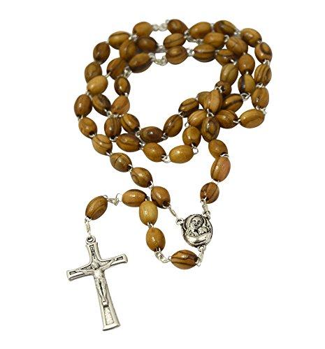 Amulet Gifts Chapelet de perles en bois d'olivier avec fragments de Terre sainte de Bethléem 51cm