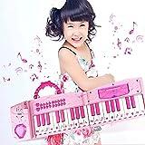 Hanmun 1Kinder Electronic Musical Karaoke Gefaltet Multifunktions 37Schlüssel Keyboard Instrument für 3+ Mädchen mit Echten Arbeiten Mikrofon und Buntes Licht MP3Record Sing Pink