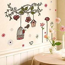 Pegatina de pared adhesivo decorativo de flores y jaulas de pajaros
