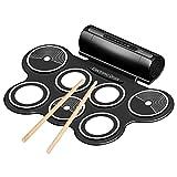 Express Panda Tragbares elektronisches Drum Pad Kit mit Stöcken und Fußpedalen - Komplettes Silikon Roll-Up Style E-Drumset