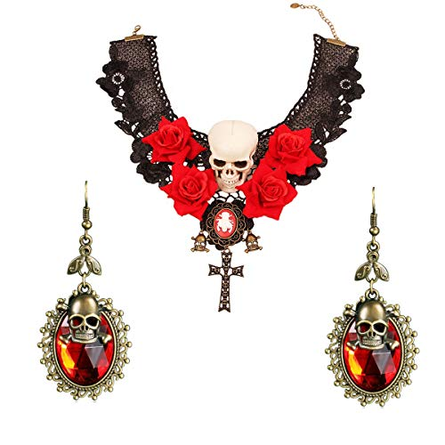Kostüm Kraft Punk - MLSJM 2Pcs Halskette Ohrringe Set Für Frauen, Gothic Übertriebener Schädel Black Lace Rose Flower Choker/Ohrring, Für Halloween-Kostüm-Party