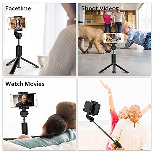 Bovon SF-01 Selfie Stick Stativ mit Bluetooth-Fernauslöser Schwarz - 3